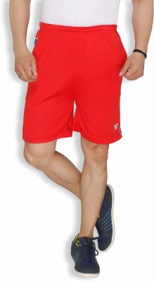 Live In Solid Men's Red Sports Shorts