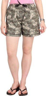 Lenora Printed Women's Grey Boxer Shorts