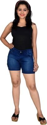 Asmara Solid Women's Denim Dark Blue Denim Shorts