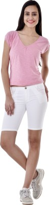 Colors Couture Solid Women's White Basic Shorts