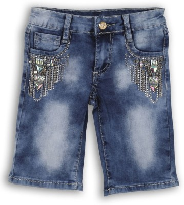 Lilliput Solid Girl's Blue Bermuda Shorts