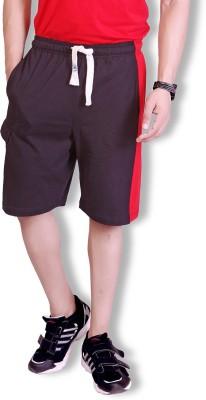 Lanosuc Solid Men's Black, Red Basic Shorts