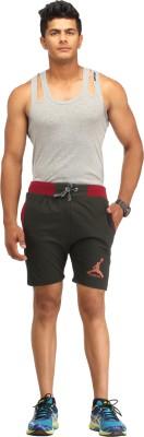 Male Basics Self Design Men's Black Bermuda Shorts