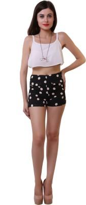 Belle Fille Polka Print Women,s Black Basic Shorts