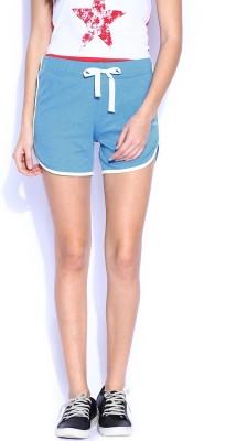 Le Bison Solid Women's Blue Basic Shorts