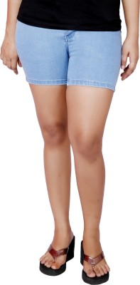 Present Jeans Solid Women's Light Blue Basic Shorts