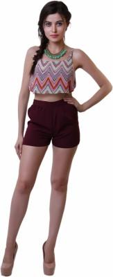 Belle Fille Solid Women,s Maroon Basic Shorts