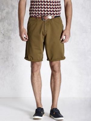 Roadster Solid Men's Brown Basic Shorts