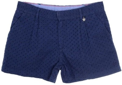Joy N Fun Embroidered Girl's Blue Basic Shorts