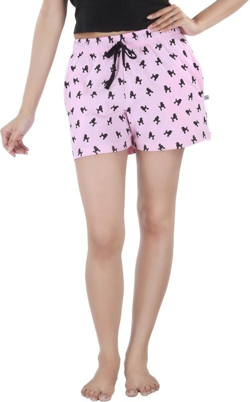 Nite Flite Printed Women's Pink, Black Night Shorts