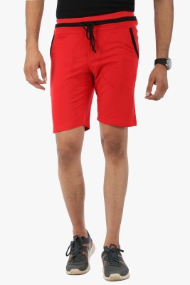 Flippd Solid Men's Red Sports Shorts