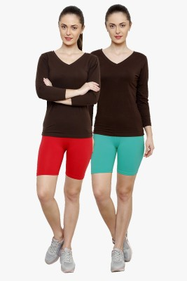 Softrose Solid Women's Red, Light Green Cycling Shorts