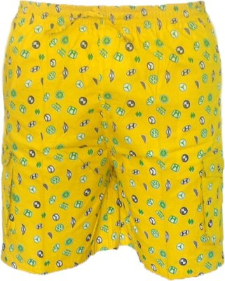 Cottvalley Printed Men's Yellow, White Basic Shorts