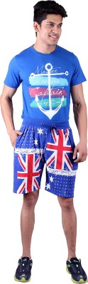 Jura Polo Printed Men's Blue Sports Shorts