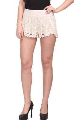 Big Pout Self Design Women's White Hotpants