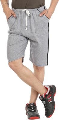 Gumber Solid Men's Grey Basic Shorts