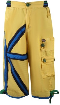 Oil and Grease Solid Boy's Yellow Cargo Shorts