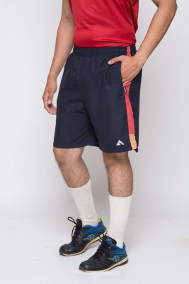 Acetone Solid Mens Dark Blue, Red Running Shorts