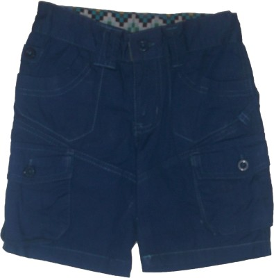 Red Rose Solid Boy's Blue Bermuda Shorts