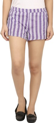 Modimania Printed Women's White, Purple Basic Shorts