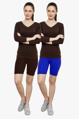 Softrose Solid Women's Brown, Dark Blue Cycling Shorts