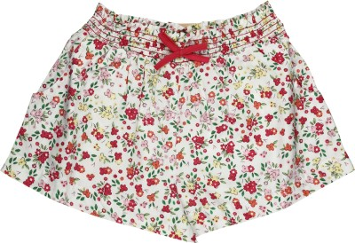My Lil,Berry Printed Girl's Maroon, White Basic Shorts