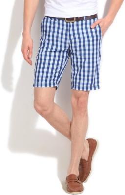 Pepe Jeans Checkered Men's White, Blue Basic Shorts