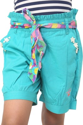 Ebry Solid Girl's Light Blue Basic Shorts
