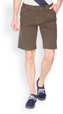 Campus Sutra Solid Men's Green Chino Shorts
