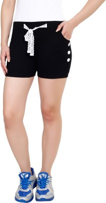 Yogaandsportswear Solid Women's Black Basic Shorts