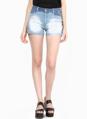 Only Solid Women's Light Blue Denim Shorts at flipkart