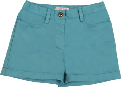 My Little Lambs Solid Girl's Grey Chino Shorts