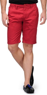 Happy Hippie Solid Men's Maroon Basic Shorts