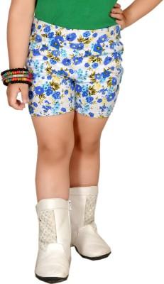 Pretty Angel Printed Girl's White, Blue Chino Shorts