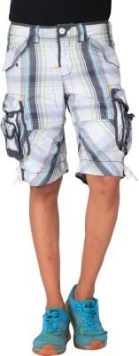 Blacksoul Checkered Men's White Cargo Shorts