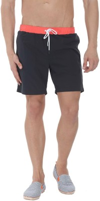 Zobello Solid Mens Black, Orange Swim Shorts