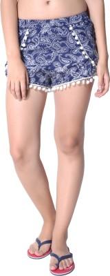 Hitch-Ki Printed Women's Blue Basic Shorts at flipkart