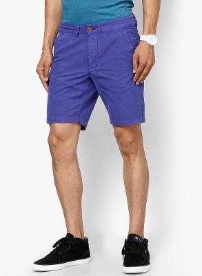 Jack & Jones Solid Men's Purple Denim Shorts