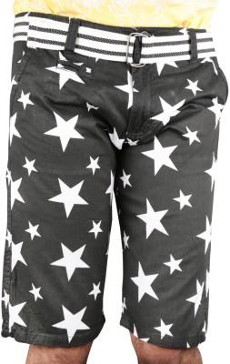 Caris Self Design Men's Black Basic Shorts, Sports Shorts, Night Shorts