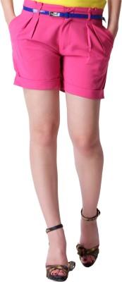 Trendy Divva Solid Women's Pink Denim Shorts