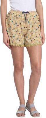 Vero Moda Printed Women's Yellow Basic Shorts