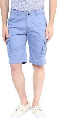 Silver Streak Solid Men,s Light Blue Cargo Shorts