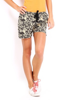 Kook N Keech Marvel Printed Women's Beige, Black Basic Shorts