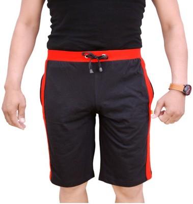 Switchon Striped Men,s Black Sports Shorts