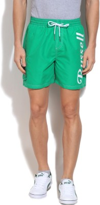 Russell Athletic Solid Men's Green Sports Shorts