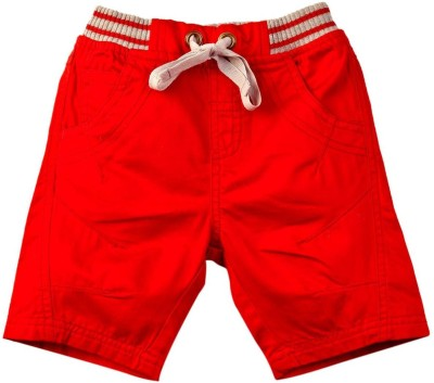 Mom & Me Solid Baby Boy's Red Bermuda Shorts