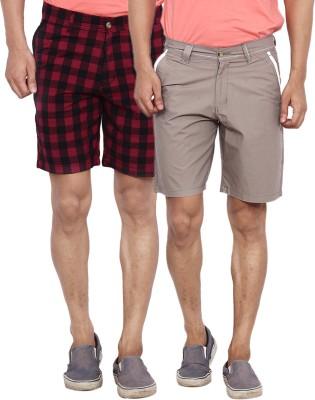 Calloway Solid Men's Black, Grey, Red Basic Shorts