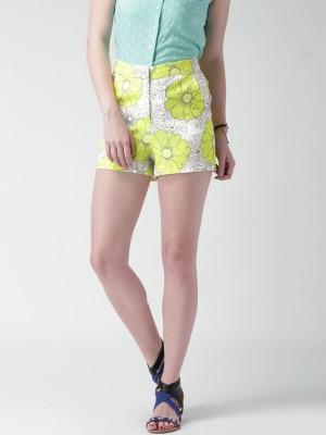 Mast & Harbour Printed Women's Yellow Basic Shorts at flipkart