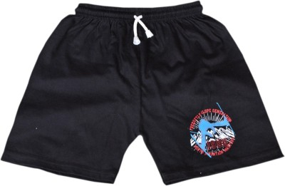 Frang Solid Boy's Black, Black Bermuda Shorts