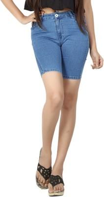 FCK-3 Solid Women's Light Blue Denim Shorts
